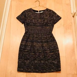 Shoshanna short sleeve metallic tweed dress